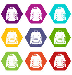 rucksack icons set 9 vector image