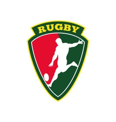 Rugby player kicking ball shield vector