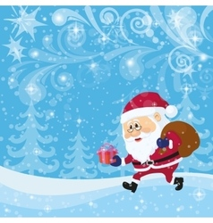 Santa Claus in Christmas Forest vector image