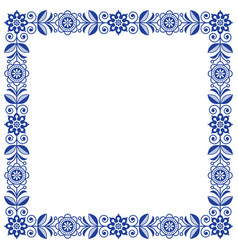 Scandinavian folk art frame cute floral vector