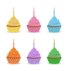set birthday colorful cupcakes with candles vector image