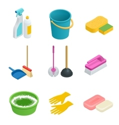 Set of cleaning tools Home clean sponge vector