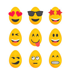 Set of yellow easter eggs with emojis vector