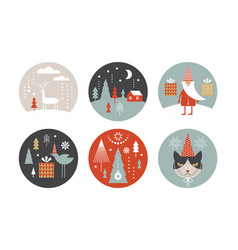 set round christmas vector image