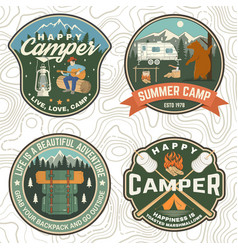 set summer camp patches concept vector image
