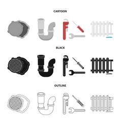 sewage hatch tool radiatorplumbing set vector image