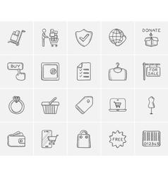 Shopping sketch icon set vector