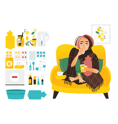 Sick woman and set of flu cold treatment elements vector