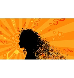 Silhouette of womans head with music hair vector
