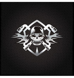 Silver crest with skull in helmet and spanners vector