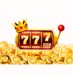 slots 777 banner golden coins jackpot casino 3d vector image
