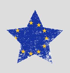 Star shaped grunge flag eu vector