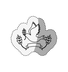 Sticker silhouette pigeon with olive branch and vector