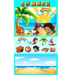 Summer set with children at sea vector image