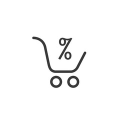 supermarket shopping cart with percentage sign vector image