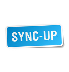 Sync-up square sticker on white vector