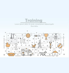 thin line art dog training poster banner vector image