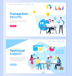 transaction security and technical support pages vector image