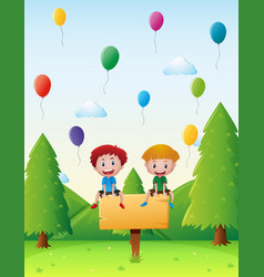 two boys sitting on the sign in the park vector image