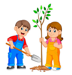 Two kids planting a tree vector