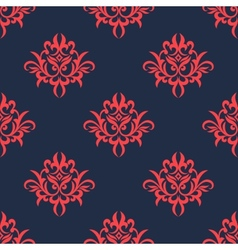 Vintage red on blue foliage pattern vector