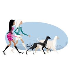 Walking dogs vector