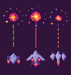 war spaceship pixel cosmic equipment vector image