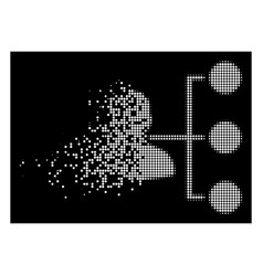 White fractured dot halftone distributor icon vector
