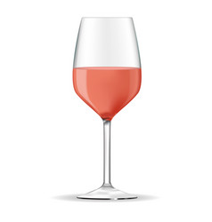 Wine glass with rose wine vector