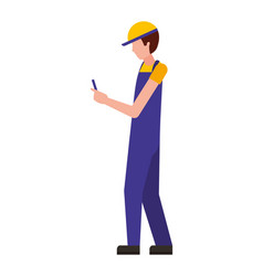 Worker using cellphone wearing sport cap and vector