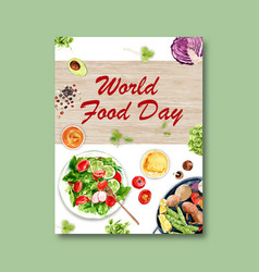World food day poster design with salad sauce vector