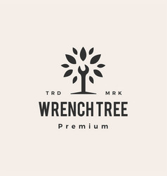 wrench tree service hipster vintage logo icon vector image