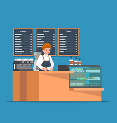 barista behind counter bar of the coffee shop vector image