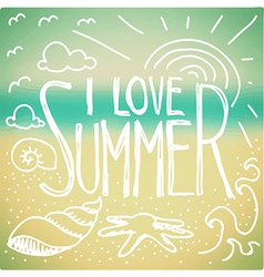 I love Summer doodle vector image vector image