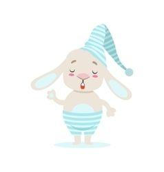 Little Girly Cute White Pet Bunny In Stripy Blue vector image vector image