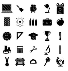 set of school icons black and white style white vector image vector image