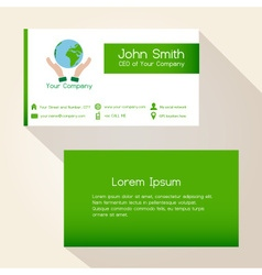 simple save the planet green business card design vector image vector image