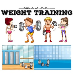 Weight training and gym vector image