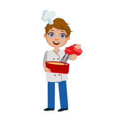 boy mixing dough with electric mixer cute kid in vector image vector image