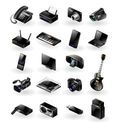 Mixed electronics icon set vector image vector image