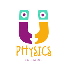 physics for kids logo symbol colorful hand drawn vector image vector image