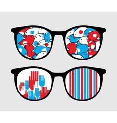 Retro sunglasses with patriotic reflection in it vector