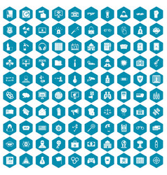 100 hacking icons sapphirine violet vector image vector image