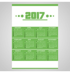 2017 simple business wall calendar green and white vector image vector image