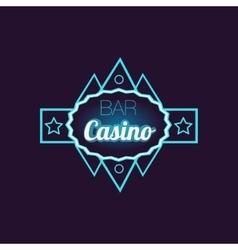 Bar casino blue neon sign vector