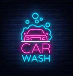 car wash logo design in neon style vector image