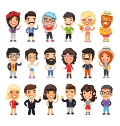 Casually Dressed Flat Characters Set vector image
