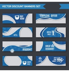 Discount banners blue set vector image