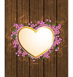 heart and pink flowers vector image vector image