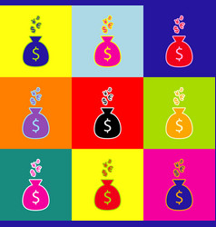 money bag sign with currency symbols pop vector image vector image
